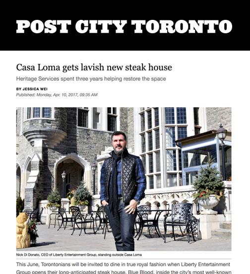 Post City Toronto - 04.17 - Casa Loma Gets Lavish New Steak House