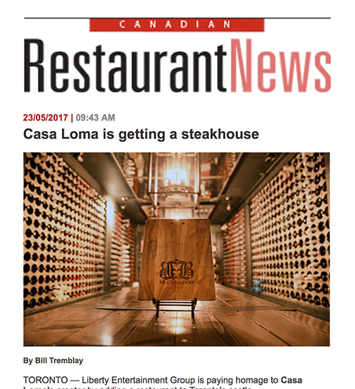 Restaurant News - 05.17 - Casa Loma Is Getting A Steakhouse