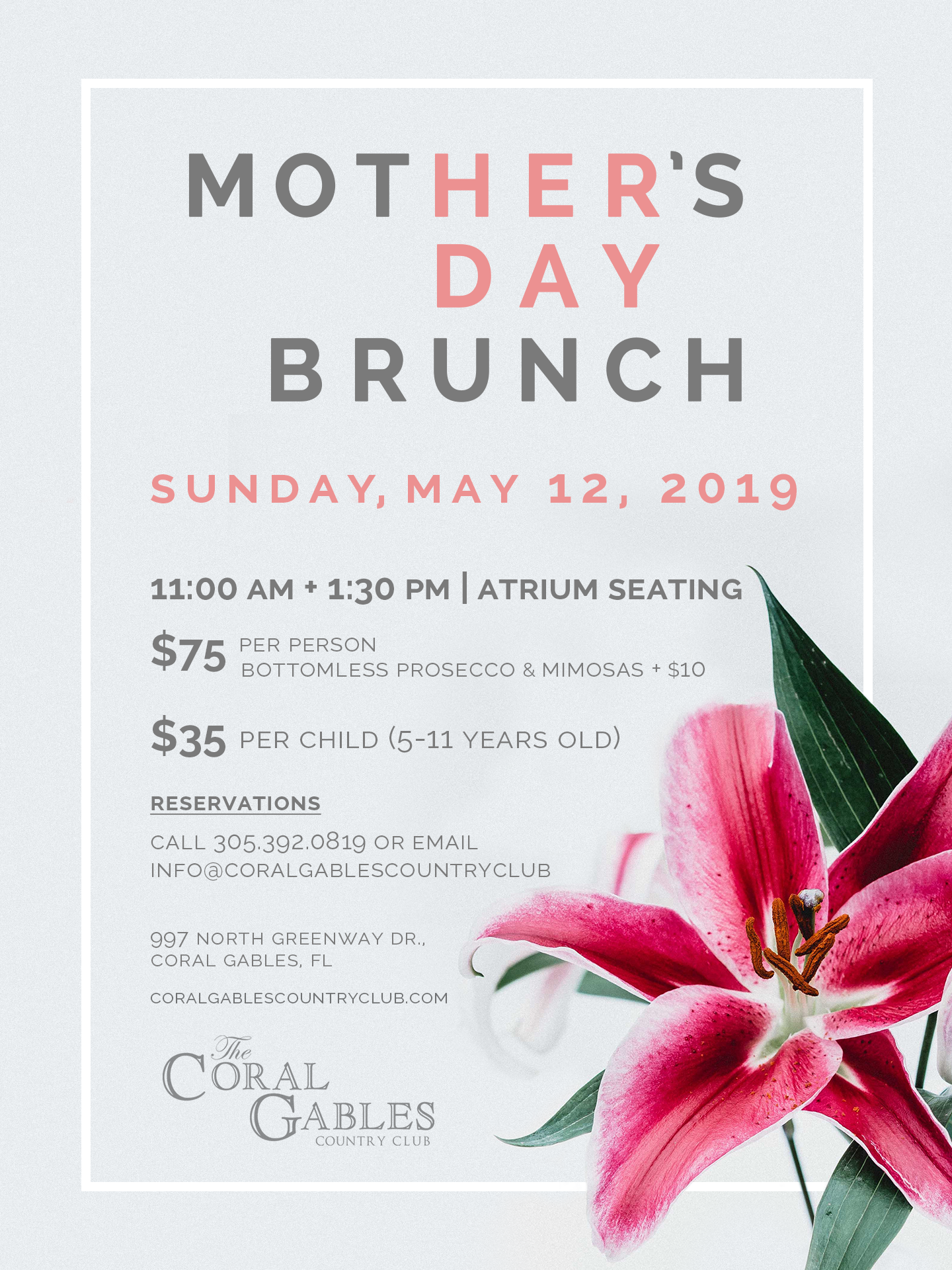 MOTHER'S DAY BRUNCH AT CORAL GABLES COUNTRY CLUB