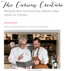 The Curious Creature - Michelin Star-Awarded Don Alfonso 1890 Opens In Toronto