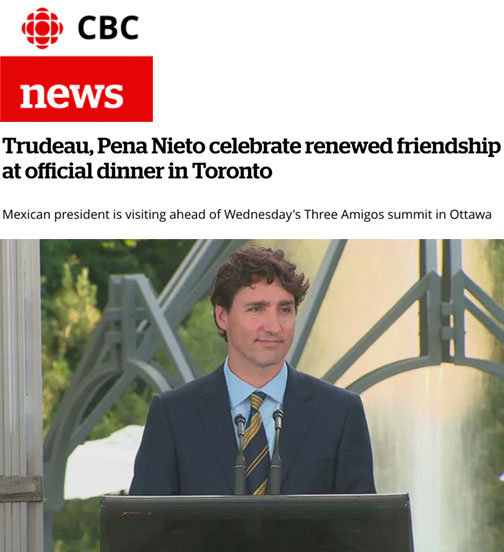 Trudeau, Pena Nieto celebrate renewed friendship at official dinner in Toronto