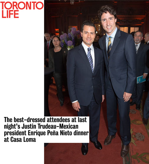 The best-dressed attendees at last night's Justin Trudeau-Mexican president Enrique Peña Nieto dinner at Casa Loma